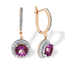 Amethyst with Double Halo CZ Dangle Earrings. 'Empress' Series, 585 (14kt) Rose Gold