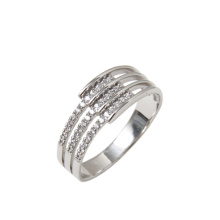 CZ Triple-Shank White Gold Ring