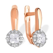 Fancy-cut Swarovski CZ Leverback Earrings. 585 (14kt) Rose Gold, Rhodium Detailing