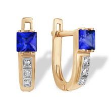 Princess-cut Sapphire and Diamond Earrings. 585 (14kt) Rose Gold