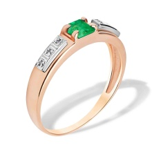 Princess Emerald and Round Diamond Ring. Hypoallergenic 585 (14K) Gold