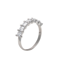 Princess-cut Swarovski CZ Half Eternity Band
