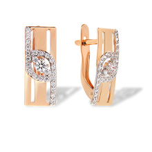 Contemporary Style CZ Earrings. 585 (14kt) Rose Gold, Rhodium Detailing