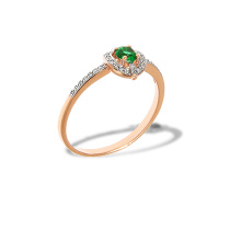 Emerald and Diamond Halo Ring. 'Royal Gem' series, 585 (14kt) Rose Gold