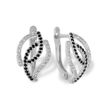 Black & White CZ Earrings. Hypoallergenic 585 (14K) White Gold