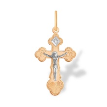 Diamond Orthodox Christening Cross for Her. 'Virgin Mary's Tear' Series, 585 Gold