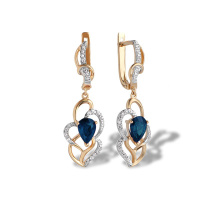 Sapphire and Diamond Long Earrings. Art Deco-inspired Rose Gold Dangle Earrings