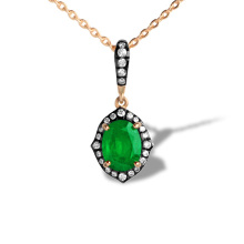Art Deco Style Emerald and Diamond Pendant. 750 Rose Gold, KARATOFF Series