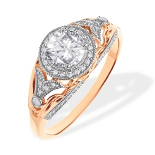 Vintage-inspired Topaz and Diamond Ring. 585 (14kt) Rose Gold, Rhodium Detailing