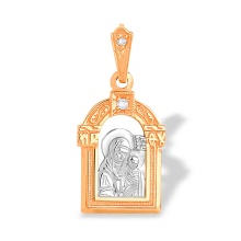 Diamond The Holy Theotokos Hodegetria Icon. Hypoallergenic 585 Rose and White Gold