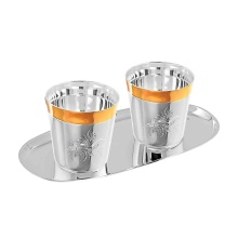 2 Whisky Silver Tumblers on a Serving Tray. Hypoallergenic Antibacterial 925 Silver