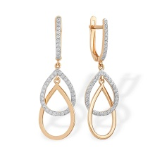 Overlapping CZ Teardrop Earrings. 585 (14kt) Rose Gold, Rhodium Detailing