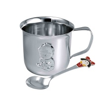 'A Girl' Baby Shower Silver Set. Silver Cup and Enamel Spoon