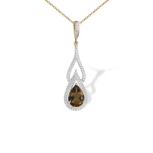 Teardrop Rauh Topaz and CZ Pendant