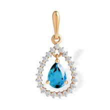 Droplet-shaped Blue Topaz and CZ Pendant