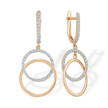 Double Circles Dangle Earrings with CZ. 585 (14K) Rose Gold