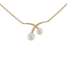White Pearl Necklace. Hypoallergenic 585 (14K) Rose Gold