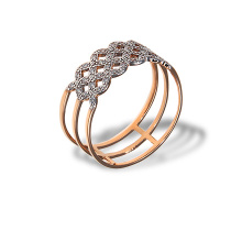 CZ Gold Woven Flowers Band. 585 (14K) Rose Gold