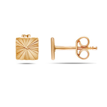 Square Design Stud Earrings. Cadmium-Free 585 Rose Gold, Friction Backs
