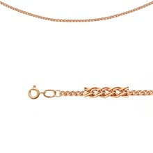 Triple Rombo-link Chain (0.35 mm Wire). Diamond Cut Solid Rose Gold