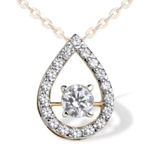 Swarovski CZ Open Teardrop Slide Pendant. 585 (14kt) Rose Gold