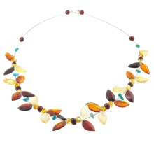 Multi-Leaf Amber and Turquoise Necklace