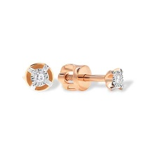 Tiny Diamond Stud Earrings. Cadmium-Free 585 Rose Gold, Screw Backs