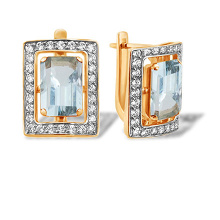 Baguette-cut Blue Topaz and CZ Earrings