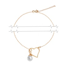 Pearl and Heart Adjustable Necklace. 585 (14K) Rose Gold