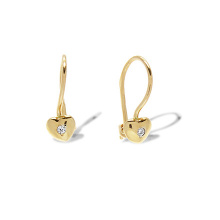 CZ Heart-shaped Kids' Earrings. 585 (14K) Yellow Gold