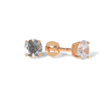 Double Gallery CZ Stud Earrings. Cadmium-Free 585 Rose Gold, Screw Backs