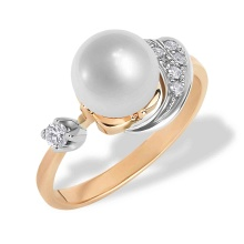 Art Deco-style Pearl and Diamond Ring. 585 (14kt) Rose and White Gold