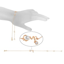 Pearl and Script 'Love' Adjustable Bracelet. 585 (14kt) Rose Gold