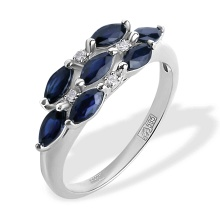 Diamond and Marquise-shaped Sapphire Ring. 585 (14K) White Gold