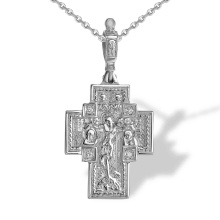 Diamond Deisis Orthodox Cross for Man. 925 Silver