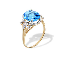 Blue Topaz and CZ Rose Gold Cocktail Ring