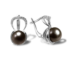 Black Pearl Diamond Earrings