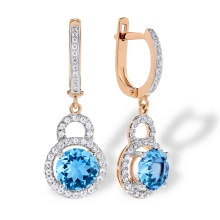 Swiss Blue Topaz Dangle Leverback  Earrings. 'Empress' Series, 585 (14kt) Rose Gold