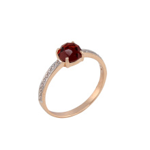 Rose Cut Garnet & CZ Ring
