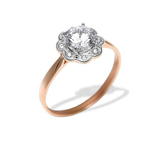 CZ Floral Design Engagement Ring