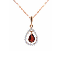 Garnet and CZ Drop Pendant. Retro Elegance