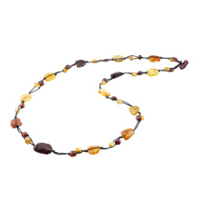Elegant Knitted Amber Necklace