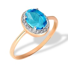 Diamond and Oval Blue Topaz Ring. Hypoallergenic 585 (14K) Rose Gold