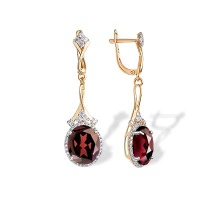 Czech Garnet and CZ Cocktail Earrings