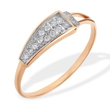 Pave CZ Trapezoidal Top Ring. 585 (14kt) Rose Gold, Rhodium Detailing