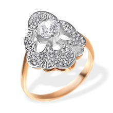 Faberge Era-inspired Certified Diamond Ring. 585 (14kt) Rose and White Gold