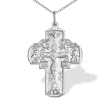 Holy Spirit Orthodox Silver Cross. Religious Symbolism in Orthodoxy