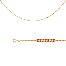 Single Curb-link Chain (0.30mm Solid Wire). Diamond Cut Solid Rose Gold
