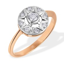 Diamond Bethlehem Star Ring. 585 (14kt) Rose and White Gold
