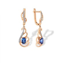 "Sapphire and Diamond Dangle Earrings. ""The Art of Seduction"" Series"